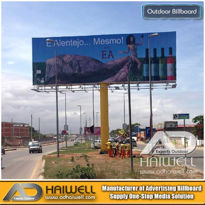Double Sided Column Metal Outdoor Advertising Billboard Structure