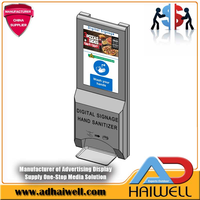 LCD Digital Display Signage with Hand Sanitizer Dispenser